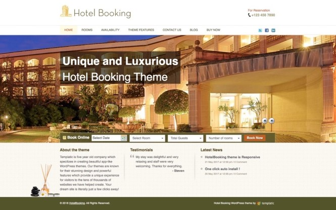 Thème WordPress pour l'application HotelBooking