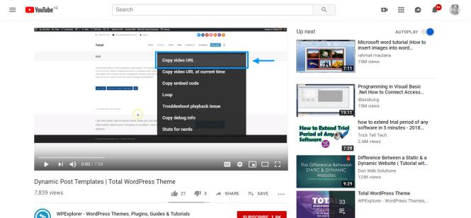comment ajouter des vidéos à wordpress copy video url on youtube video