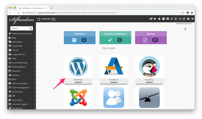 installer wordpress avec cpanel softaculous 1