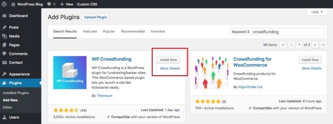 Installer WP Crowdfunding