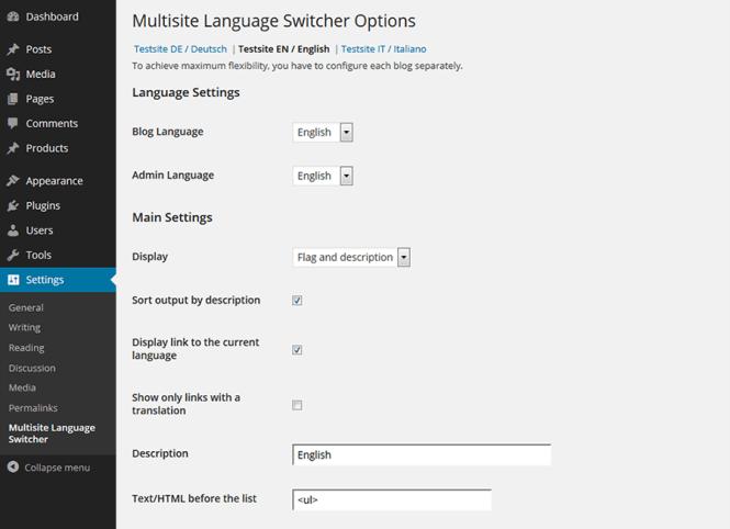 Plugins pour WordPress Multisite: Language Switcher
