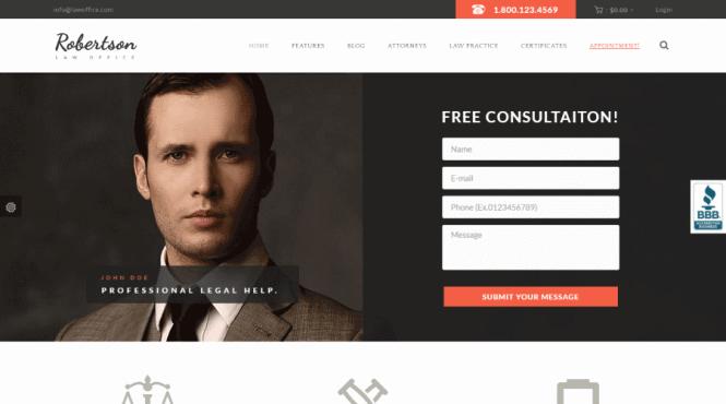 Thème WordPress pour Law Office