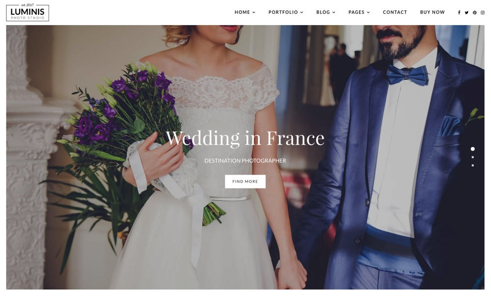 Luminis Свадебная фотография WordPress Theme