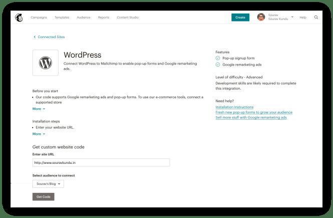 Mailchimp to WordPress Options de configuration