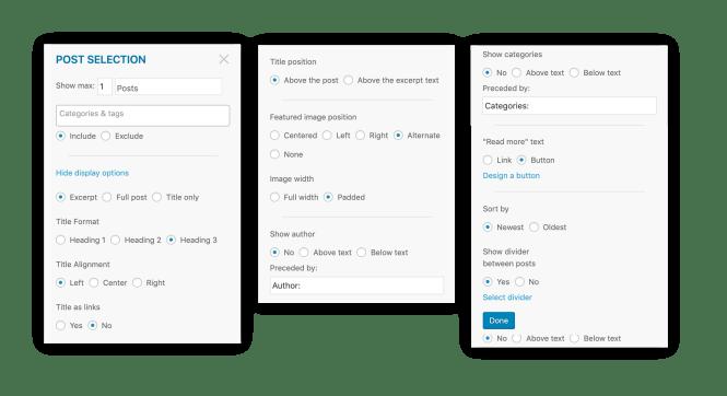 Options de personnalisation dans le générateur de messagerie de MailPoet