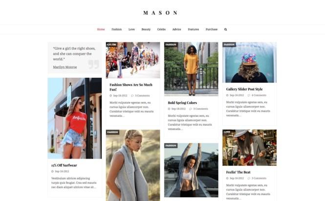 Thème WordPress polyvalent et de blogging total: démon Mason