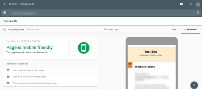 Résultats des tests d'optimisation mobile de Google