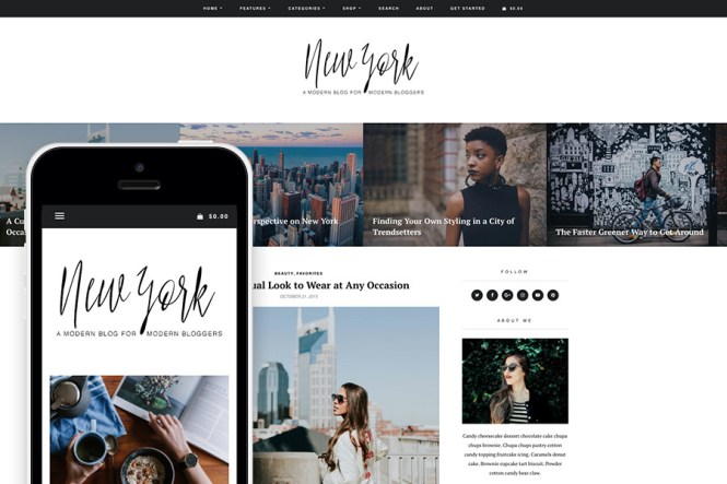 Thème de blog et boutique de mode WordPress à New York