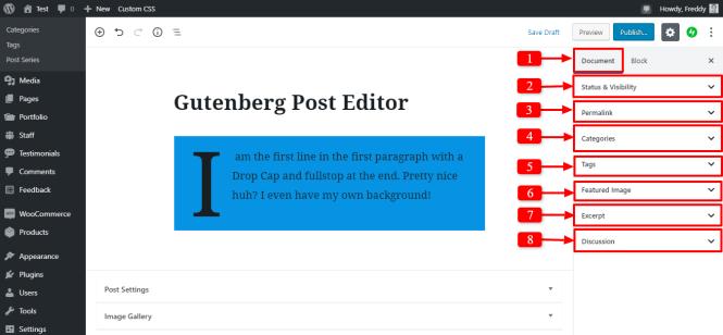 onglet de document de la barre latérale du bloc de paragraphe