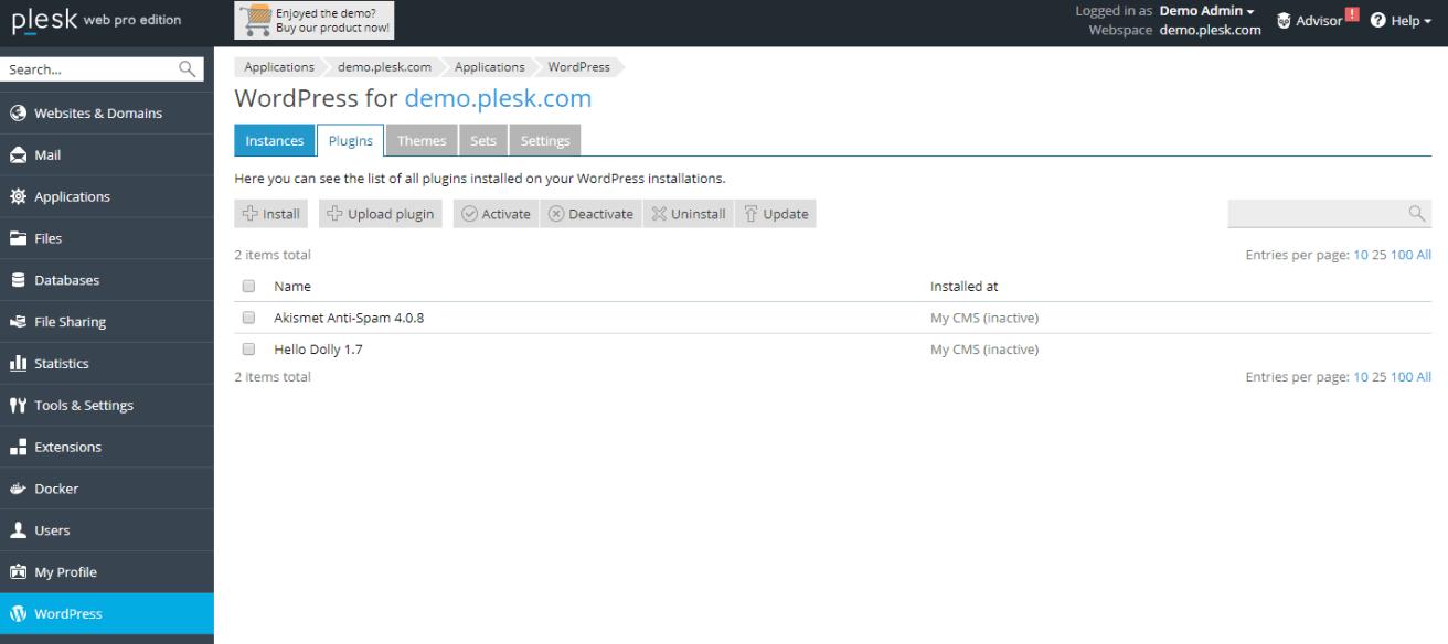 Manage WordPress Plugins in Plesk