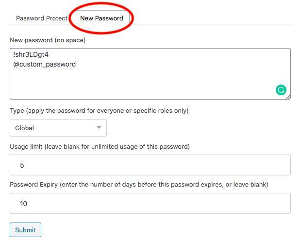 PPWP Créer un nouveau mot de passe