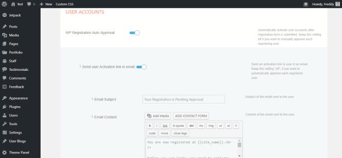 Profilegrid page des paramètres du compte utilisateur