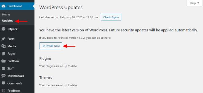 comment réinstaller wordpress depuis le tableau de bord administrateur