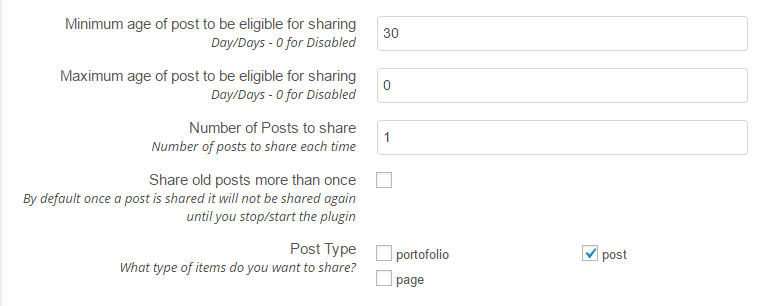 Revive Old Post Settings