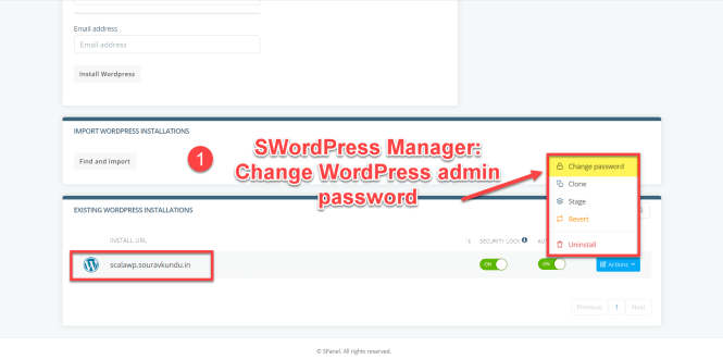 options du gestionnaire scala swordpress - changer le mot de passe de l'administrateur wordpress 1