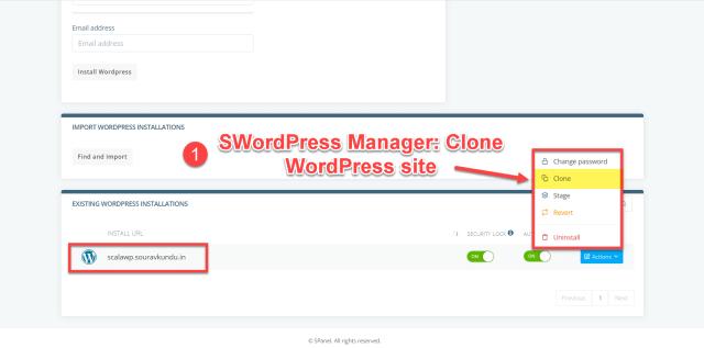 scala swordpress manager options - clone wordpress site 1