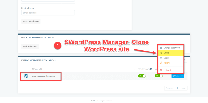 options du gestionnaire scala swordpress - cloner le site wordpress 1