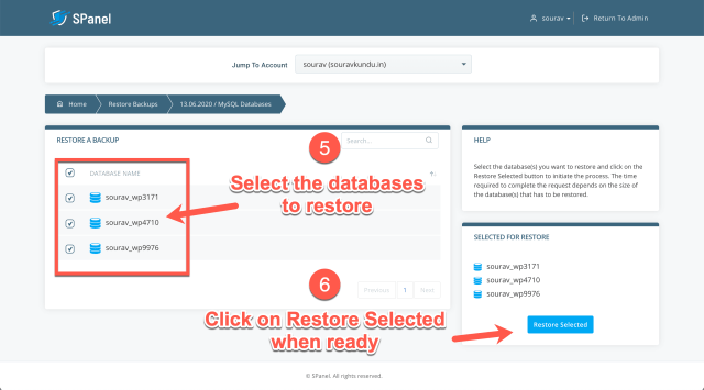 how to restore wordpress backup in scala spanel part 4