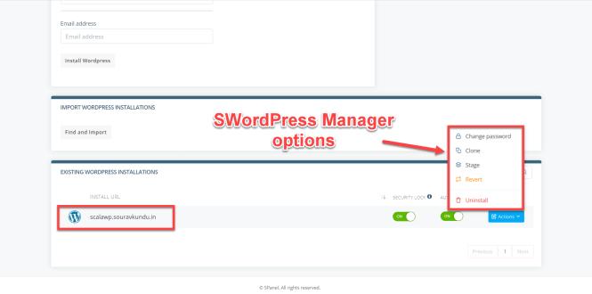 options du gestionnaire scala swordpress