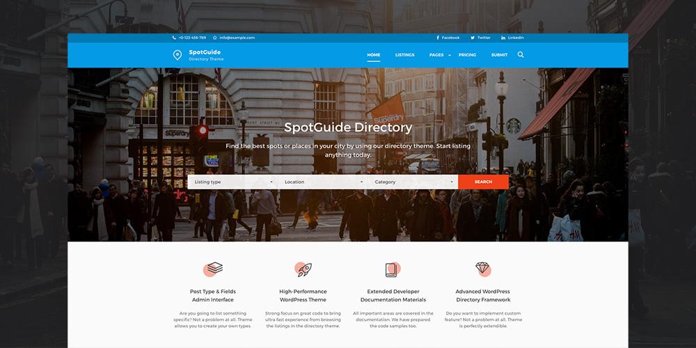 SpotGuide Высокопроизводительный каталог WordPress Theme