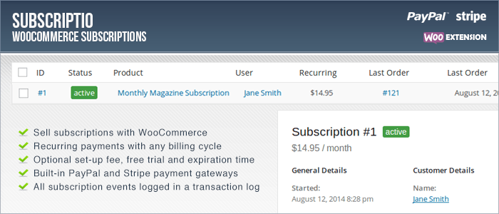 Subscriptio - Suscripciones de WooCommerce Premium WordPress Plugin