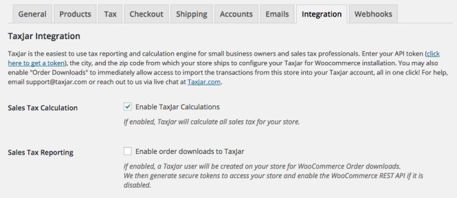Paramètres du plugin TaxJar