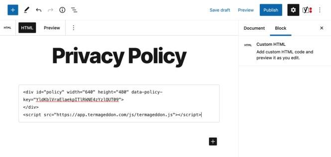 Bloc HTML personnalisé Termageddon