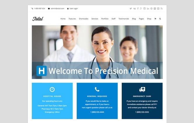 Thème WordPress polyvalent total Page d'accueil médicale