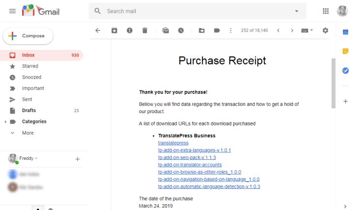 recibo de compra de translatepress en gmail