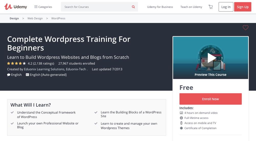 Завершите тренинг по WordPress для начинающих от Udemy