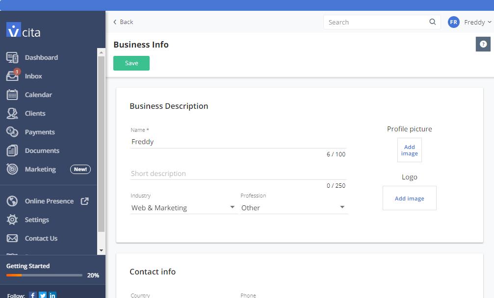 Страница деловой информации vcita