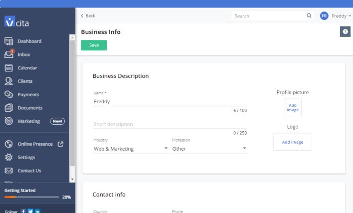 vcita página de información de negocios