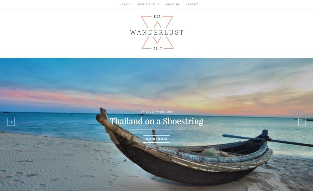 Wanderlust Travel Blog WordPress Theme