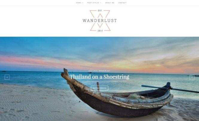 Thème WordPress pour le blog de voyage Wanderlust