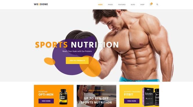 Thème WordPress pour magasin de sport, de remise en forme et de nutrition Welldone