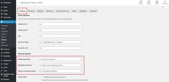 WooCommerce General Options Location Settings