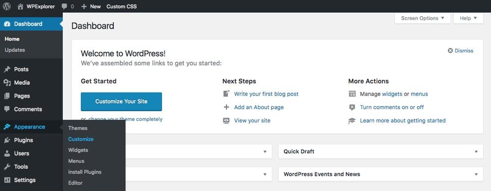 Ссылка WordPress Live Customizer