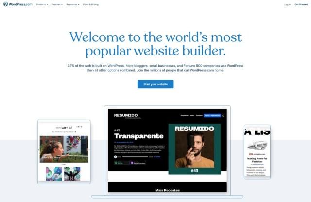 WordPress.com ، مواقع الويب المدارة مجانًا