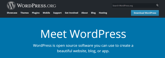 La page d'accueil de WordPress.org.