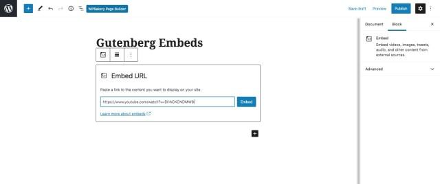 WordPress oEmbed Gutenberg Block