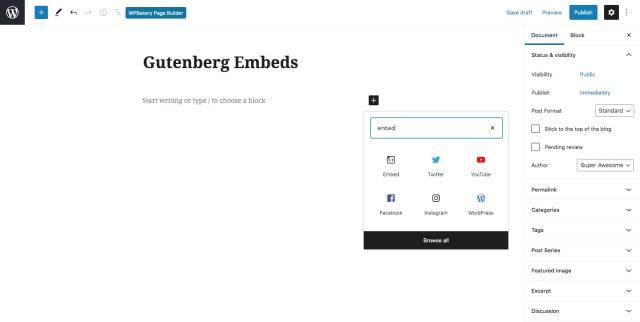 WordPress oEmbed in Gutenberg