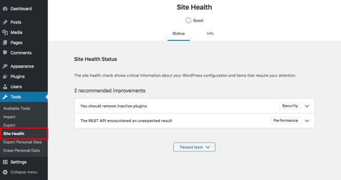 Santé du site WordPress - API REST