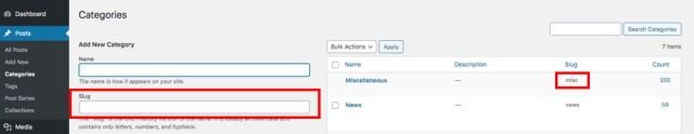 WordPress Category Slug Example