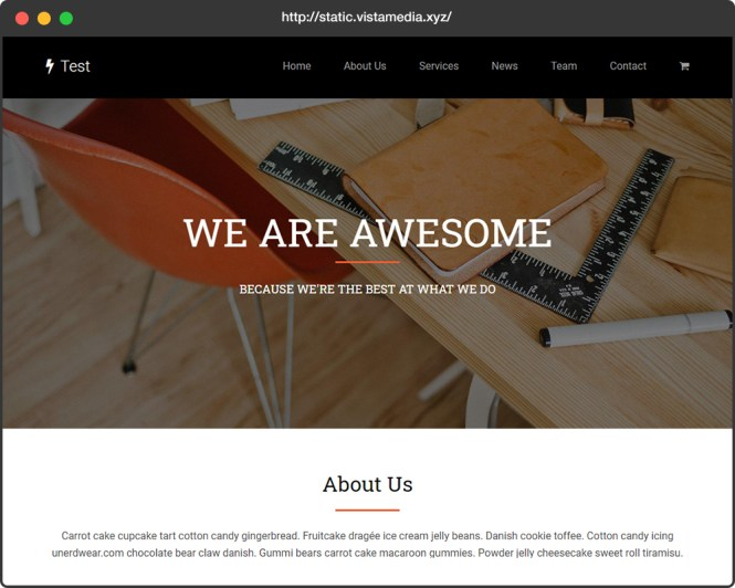 Site Web statique avec résultat WordPress