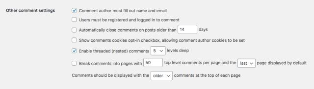 الإشراف على تعليقات WordPress: إعدادات التعليقات الأخرى