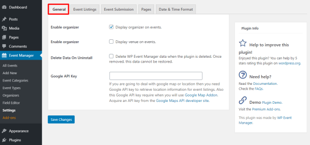 WP Event Manager General Settings