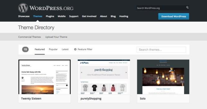 Répertoire thématique principal de WordPress.org