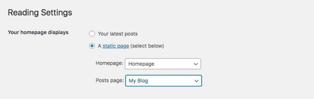 Set Homepage: Your Homepage Displays - Static