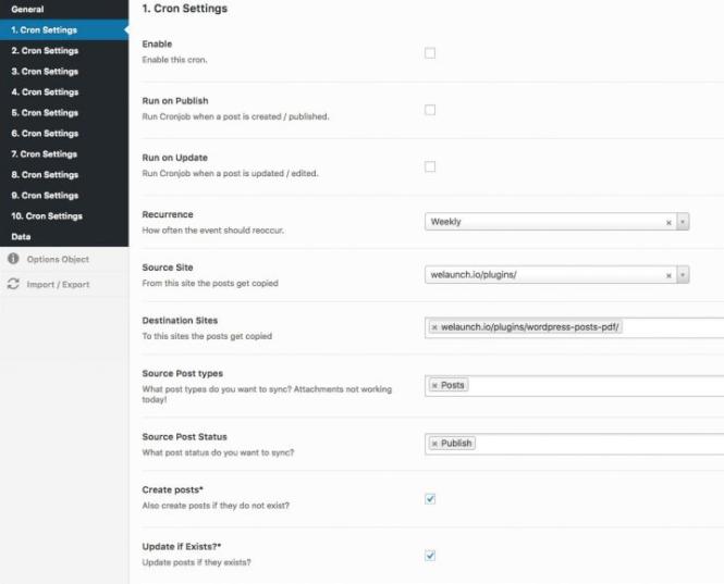 Paramètres de synchronisation multisite WordPress