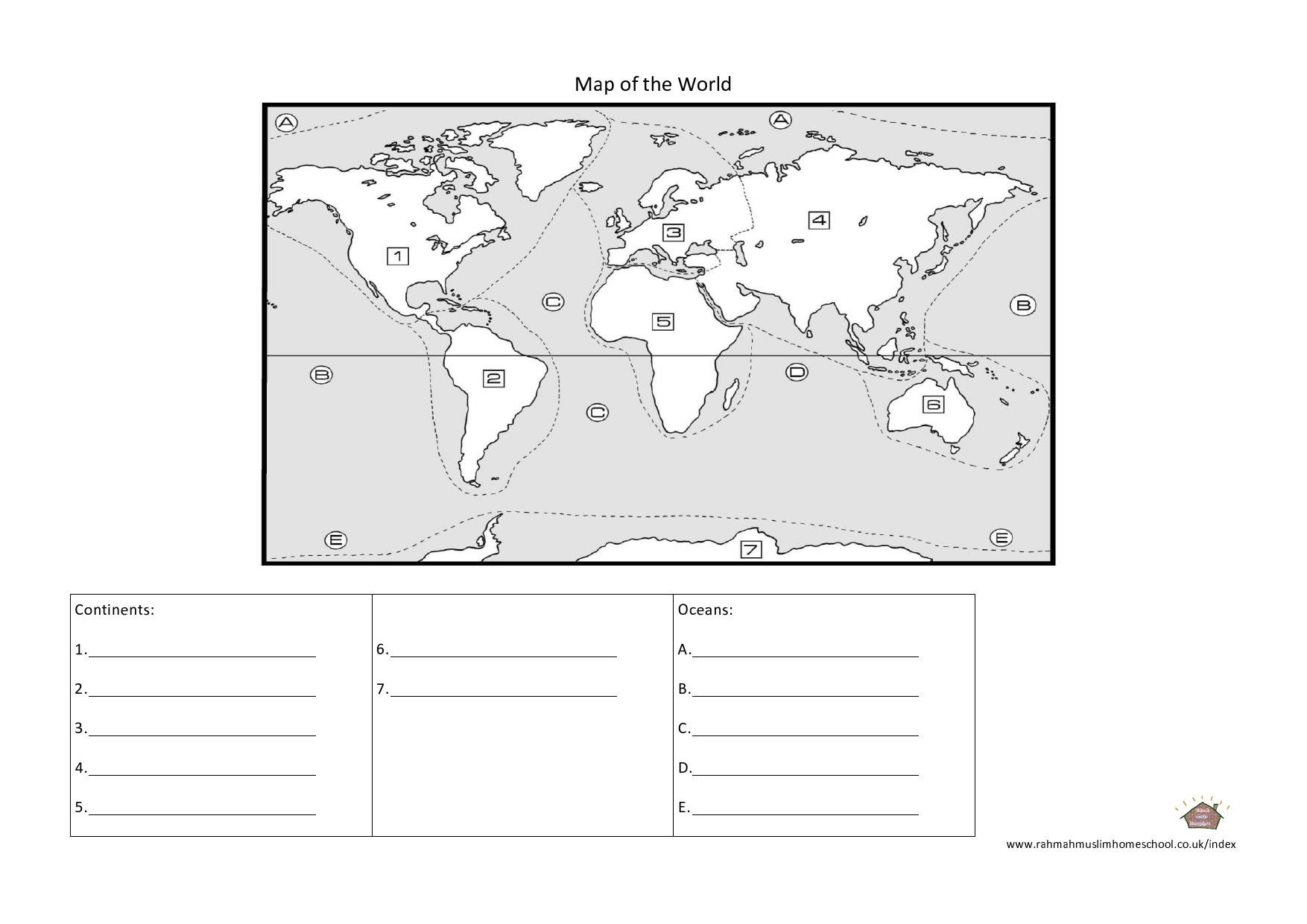 Continents Oceans Worksheets
